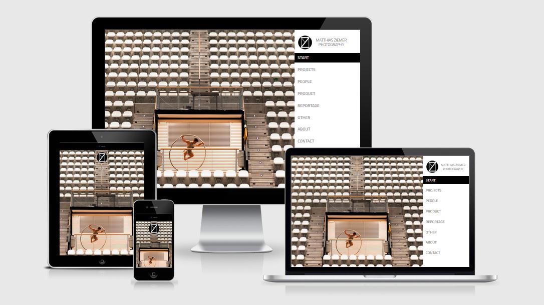 """Die Webseite von """"Fotografie Matthias Ziemer"""" dargestellt auf 4 verschiedenen Bildschirmgrößen (Handy, Tablet, Laptop und Desktopmonitor)"""
