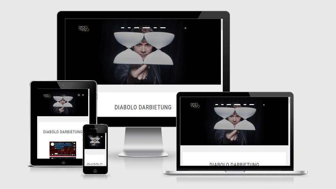 """Die Webseite von """"Pranay"""" dargestellt auf 4 verschiedenen Bildschirmgrößen (Handy, Tablet, Laptop und Desktopmonitor)"""