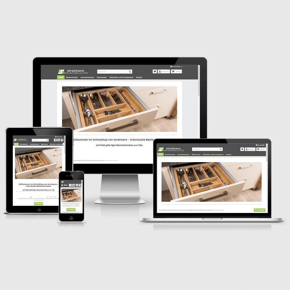 """Die Webseite des """"Stratmann Design Shops"""" dargestellt auf 4 verschiedenen Bildschirmgrößen (Handy, Tablet, Laptop und Desktopmonitor)"""