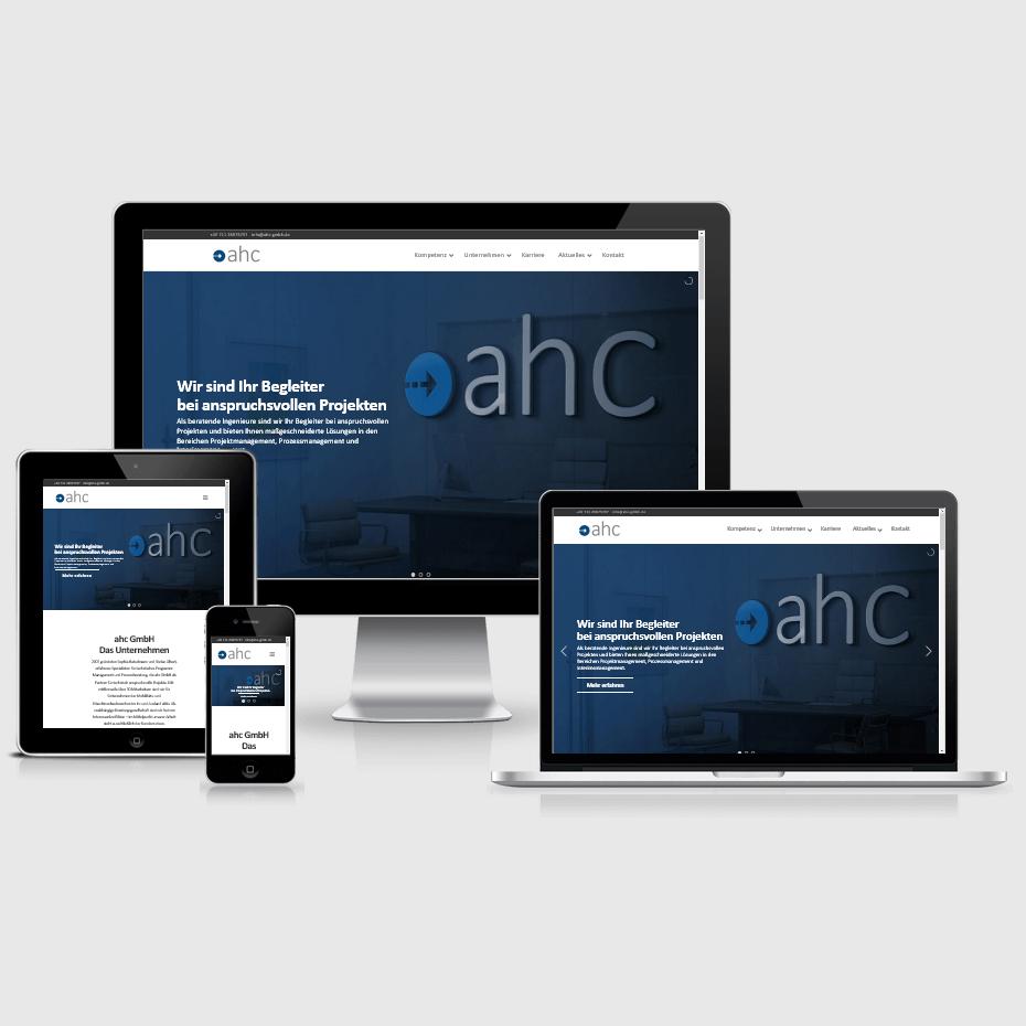 """Die Webseite der """"ahc GmbH"""" dargestellt auf 4 verschiedenen Bildschirmgrößen (Handy, Tablet, Laptop und Desktopmonitor)"""