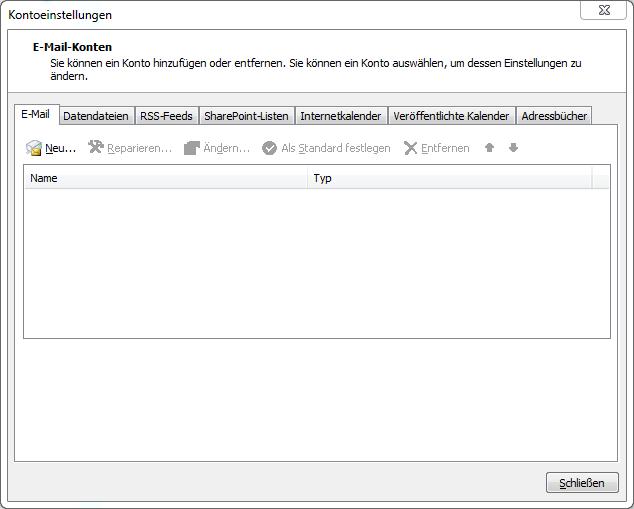 Screenshot Outlook