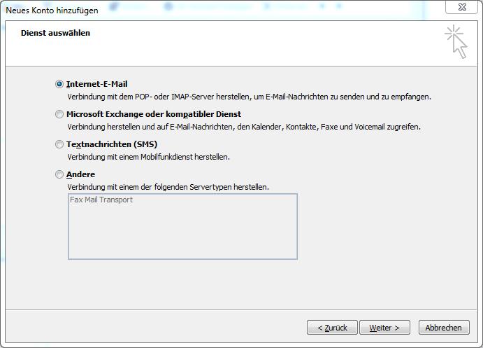 Screenshot Outlook Servertypen