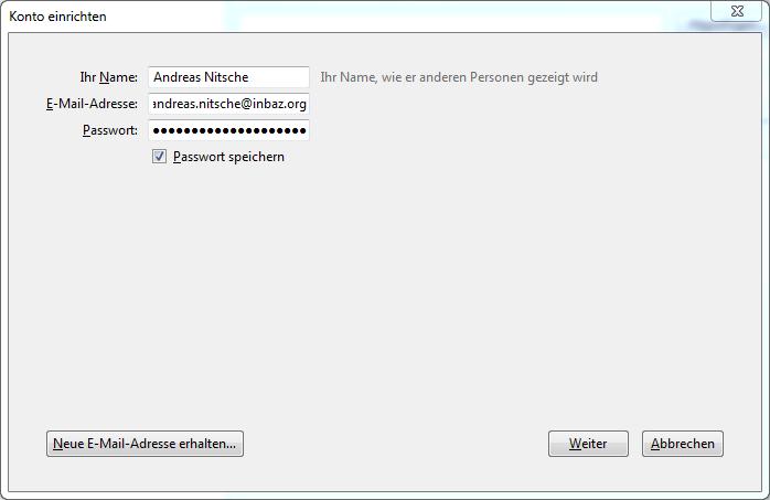 Screenshot Thunderbird Konto einrichten