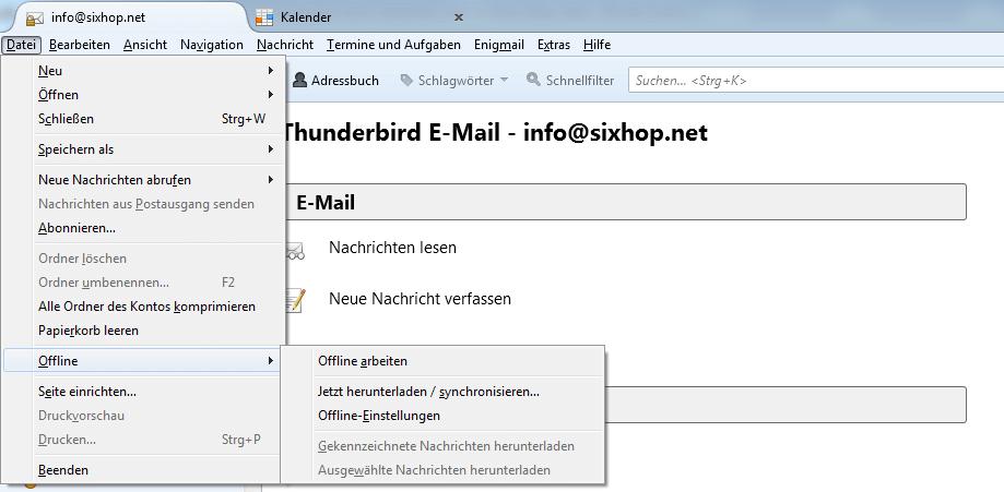 Screenshot Thunderbird Troubleshooting