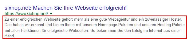 Screenshot der Webseitenbeschreibung in der Googlesuche