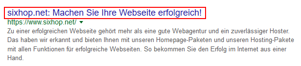 screenshot des webseitentitels in der Googlesuche