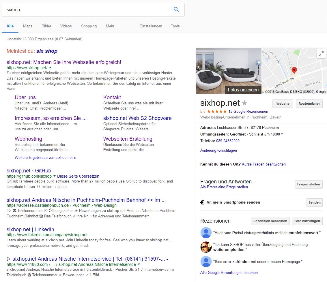 Ein screenshot der Darstellung eines Google MyBusiness in der googlesuche
