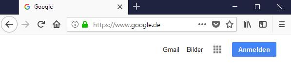 Ein screenshot einer Google Seite, wenn der Benutzer nicht eingeloggt ist