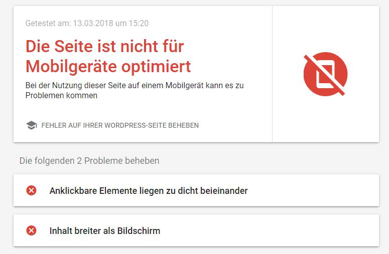 screenshot des Tests einer nicht mobil-optimierten Webseite