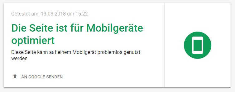 screenshot des Tests einer mobil-optimierten Webseite