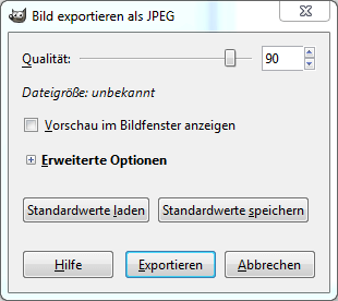 Screenshot der Exportfunktion fuer Fotos in GIMP