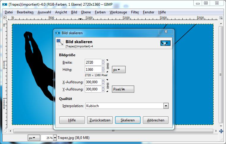 Screenshot der Skalierung eines Fotos in GIMP: Die Skalierungsoberfläche