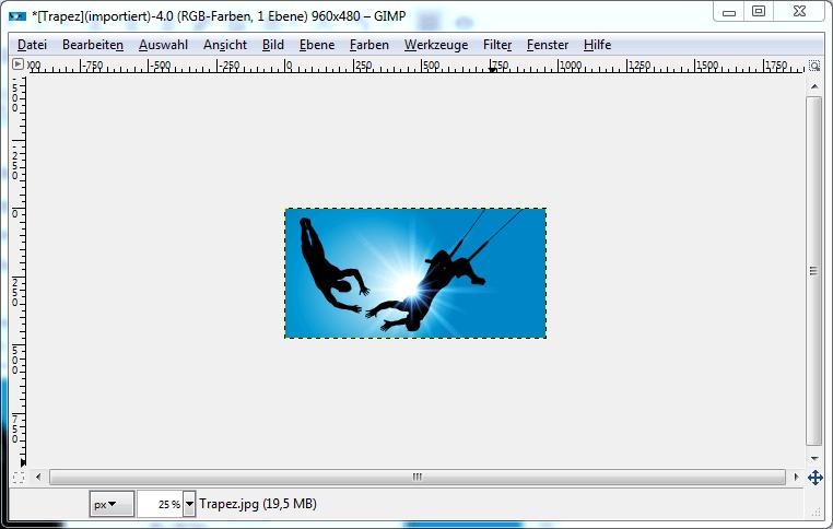 Screenshot der Skalierung des Fotos in GIMP: Ein Faenger am Trapez faengt einen Springer