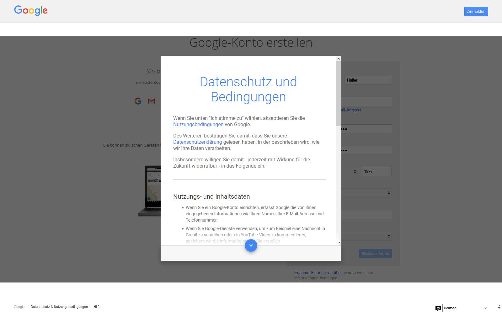 """Ein screenshot der Google Seite """"Datenschutz und Nutzungsbedingungen"""""""