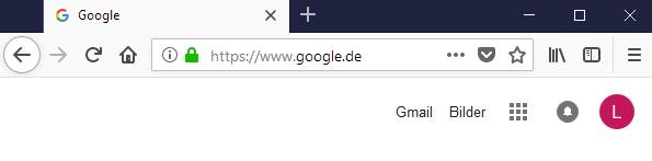 Ein screenshot einer Google Seite, wenn der Benutzer eingeloggt ist