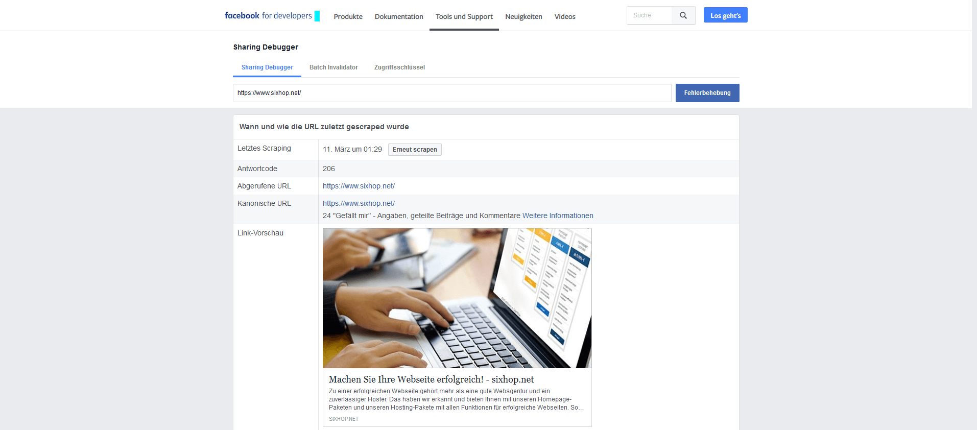 Facebook Developer Link Vorschau