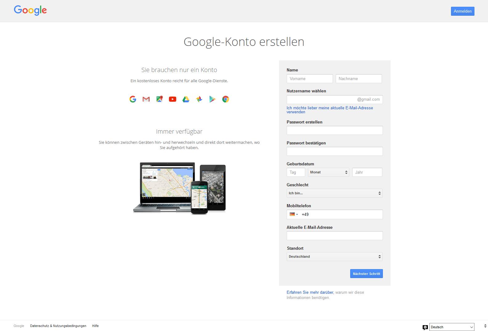 Ein screenshot der Webseite Google-Konto erstellen