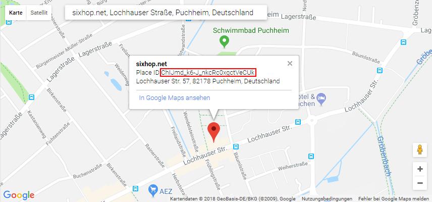 Ein screenshot von Google-Maps mit der Place-ID eines Google MyBusiness