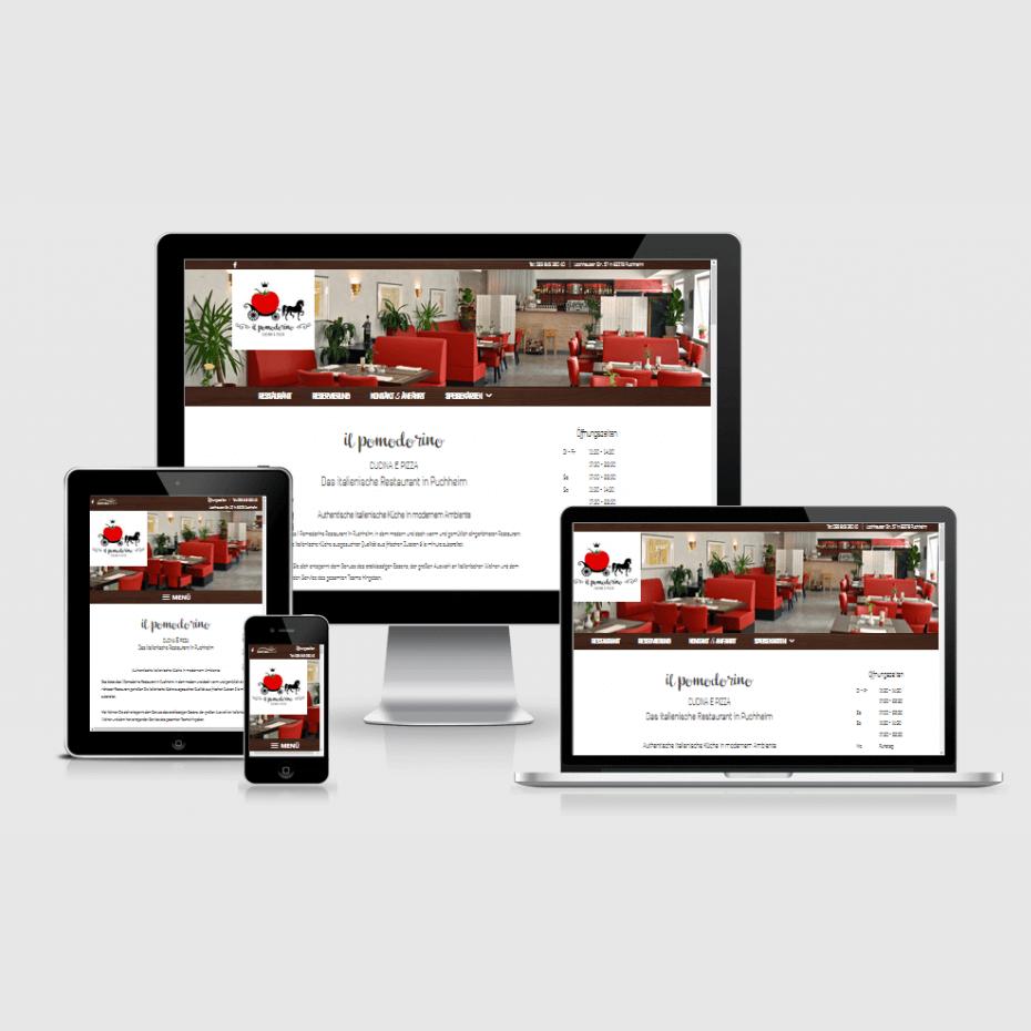 """Die Webseite von """"Il Pomodorino"""" dargestellt auf 4 verschiedenen Bildschirmgrößen (Handy, Tablet, Laptop und Desktopmonitor)"""