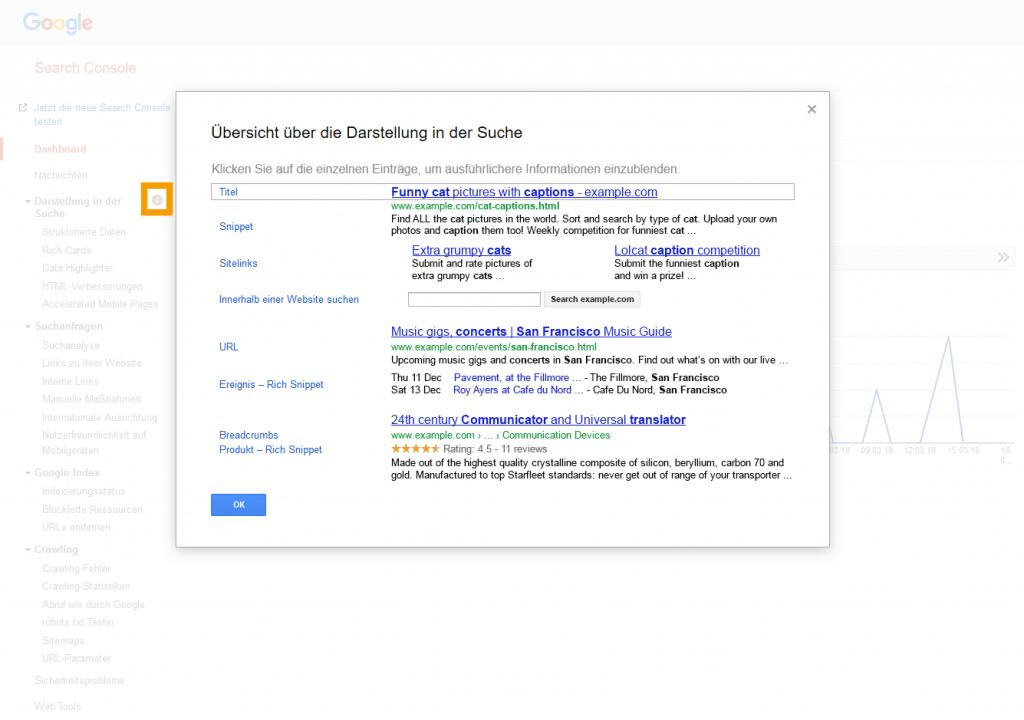 Screenshot der Search Console mit geöffnetem Darstellungspopup
