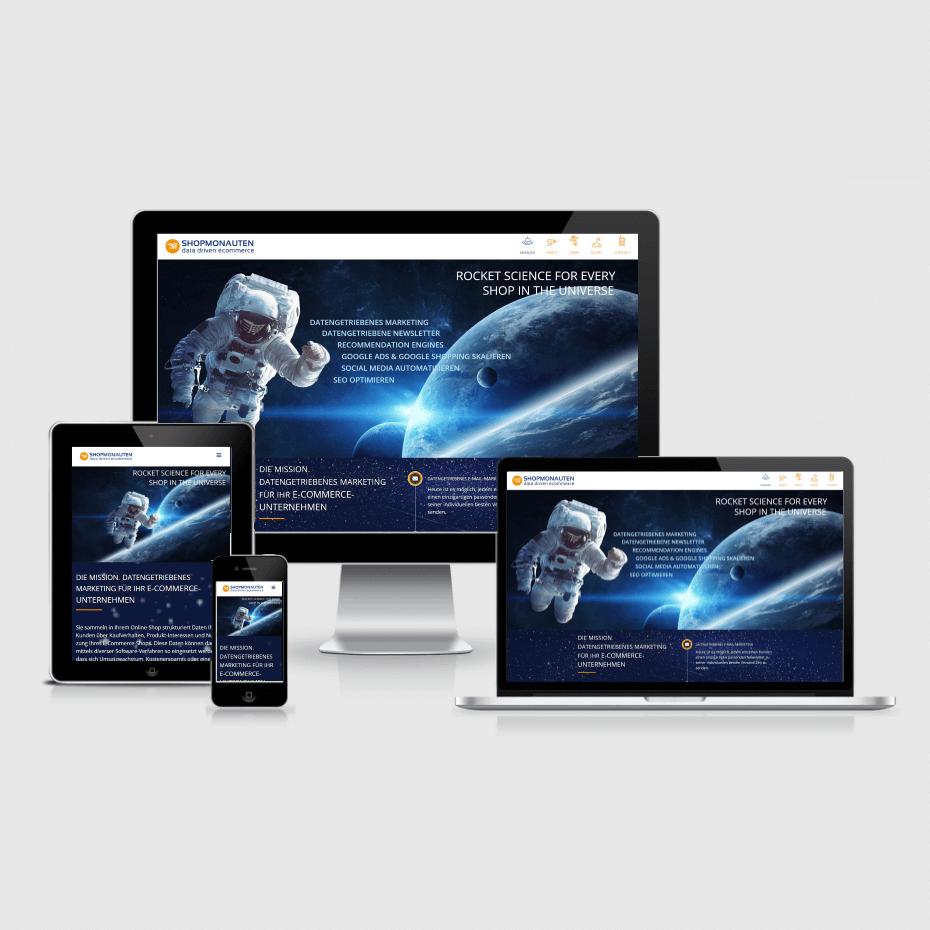 """Die Webseite der """"Shopmonauten"""" dargestellt auf 4 verschiedenen Bildschirmgrößen (Handy, Tablet, Laptop und Desktopmonitor)"""