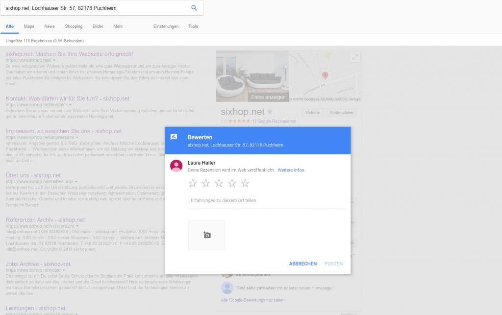Ein screenshot der Maske zur Abgabe einer Google-Rezension
