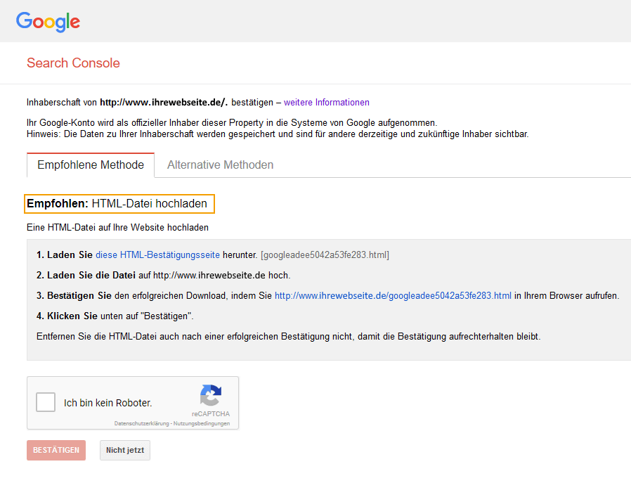 screenshot der Verifizierung der google search console