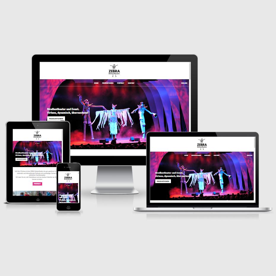 """Die Webseite des """"ZEBRA Stelzentheaters"""" dargestellt auf 4 verschiedenen Bildschirmgrößen (Handy, Tablet, Laptop und Desktopmonitor)"""