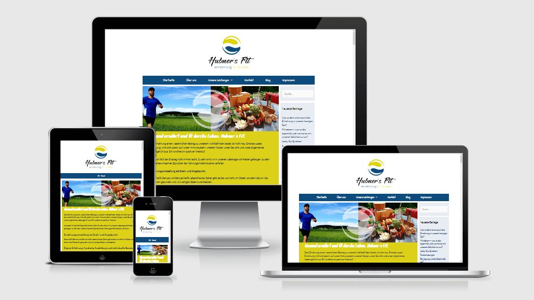 """Die Webseite von """"Hubner´s Fit"""" dargestellt auf 4 verschiedenen Bildschirmgrößen (Handy, Tablet, Laptop und Desktopmonitor)"""